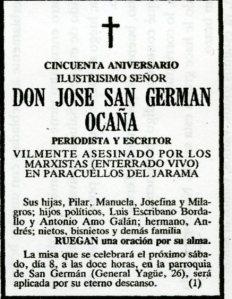 San Germán Ocaña Esquela
