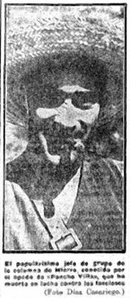 Pancho Villa, jefe de grupo de la Columna de hierro, El LIberal 3-9-36