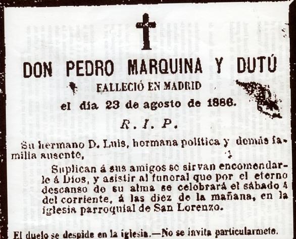 Marquina, Pedro,Esquela La Correspondencia de España 30-9-1886003