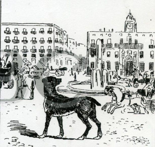 El perro Paco en la Puerta de Alcalá