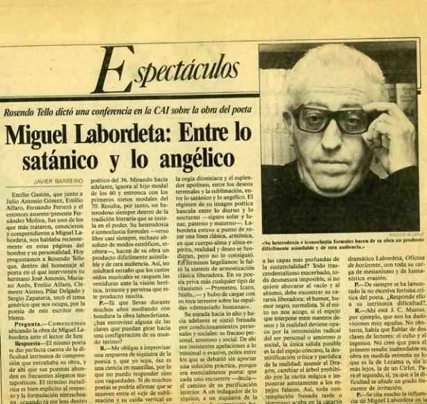 Rosendo Tello sobre Miguel Labordeta